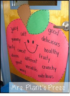 It's Apple Week! Wouldn't this be a cute adjective idea? Or maybe create an apple tree and have each student make their own apple adjective? Preschool Apple Theme, Fall Preschool, Preschool Themes, Preschool Classroom, Classroom Activities, Preschool Apple Activities, Preschool Apples, Apple Crafts For Preschoolers, Apple Theme Classroom