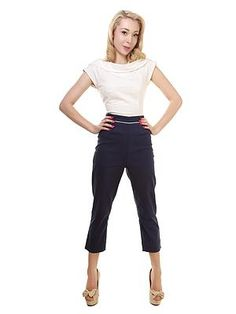 Collectif Solene Cropped Cigarette Pants in Navy for a 1950's nautical look this summer at Audrey Star's Boutique