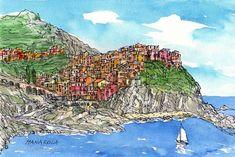 Manarola Italy art print from an original watercolor by AndreVoyy, $15.00