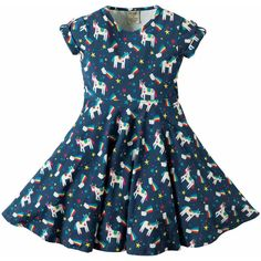 4af0aeebfb Frugi Organic Girls  Magical Rainbow Unicorn Spring Skater Dress