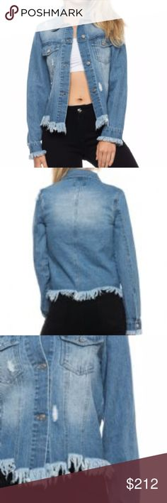 Denim Jacket New!!  Denim/Jean jacket with frayed hem line and sleeve ends-distressed looked-pockets-100%cotton. Denim is all the rage this season. HVHOUSEWIFE Jackets & Coats Jean Jackets