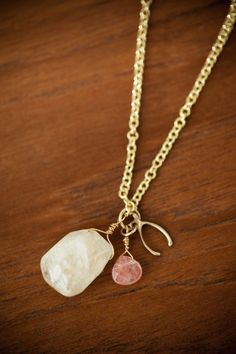 Wish bone and gemstone necklace