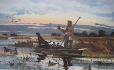 "1984 - ""Early Season"" Duck Decoy Hunting Print by Chet Reneson Hunting Art, Duck Hunting, Waterfowl Hunting, Ducks Unlimited, Duck Decoys, Cowboy Art, Sports Art, Wildlife Art, Watercolor"