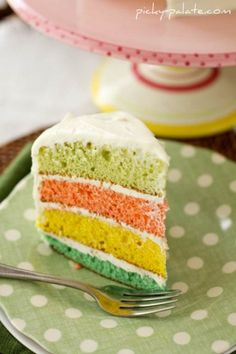 colorful layer cake.  I made one for Liam's 1st birthday party, and it was a big hit!