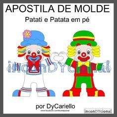 >> Apostila digital com molde do Patati e Patata [Conforme imagem], para ser feito em feltro/tecido.  >> Sem PAP [passo a passo]. Apenas o molde.  >> Em 2D.  No tamanho de aproximadamente 30cm cada.  >> A apostila tem 1,56mb, formato PDF, 11 páginas. https://www.facebook.com/inconDYcional/photos/a.811942578856722.1073741827.187805041270482/977036325680679/?type=3&theater