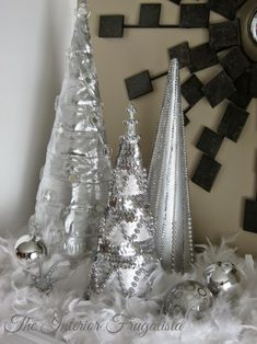 The Interior Frugalista: How To Make Beaded Christmas Cone Trees For Less Tulle Christmas Trees, Silver Christmas Decorations, Christmas Mantels, Diy Christmas Tree, Xmas Trees, Christmas Ideas, Winter Decorations, Elegant Christmas, Christmas Vacation