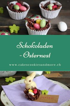 Chocolate Easter basket with almonds and sugar eggs. Fingerfood Recipe - Easter Baking without bakin Sugar Eggs, Easter Chocolate, Easter Baskets, Finger Foods, Almond, Food And Drink, Pudding, Baking, Sweet