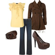 brown and yellow, created by styleofe on Polyvore