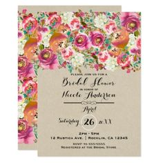 Elegant Floral & Kraft Shabby Chic Bridal Shower Card - rustic gifts ideas customize personalize