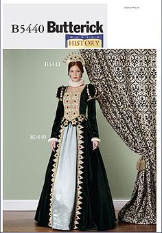 This out of print Butterick pattern makes a misses costume for Renaissance queen. Condition This printed sewing pattern is complete, uncut and still in factory folds. The pattern pieces are in like-ne