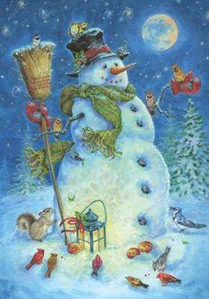 Moonlit Snowman Winter Garden Flag Lantern BIrds 12.5u0027 X 18u0027 Briarwood Lane