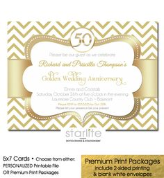 Gold Chevron 50th Wedding Anniversary Invitation