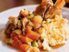 Joshua Wesson substitutes full-flavored lamb for the usual mild veal in his version of this classic Italian stew with tomatoes, onions and carrots. Lamb Recipes, Wine Recipes, Cooking Recipes, Savoury Recipes, Italian Stew, Pork Hock, Cooking Challenge, Lamb Shanks