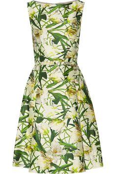 Oscar de la Renta for THE OUTNETBelted cotton and silk-blend dress