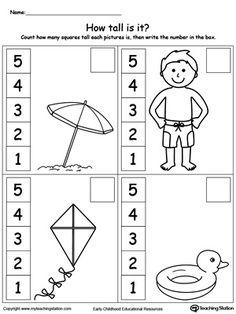 Measure Worksheets for Kids Kindergarten Measurement Printable Worksheets Measurement Kindergarten, Subtraction Kindergarten, Measurement Worksheets, Algebra Worksheets, Free Kindergarten Worksheets, Preschool Math, Worksheets For Kids, Printable Worksheets, In Kindergarten