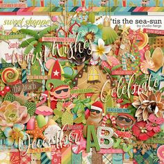 'Tis the Sea-sun by Studio Flergs. A digital scrapbooking kit by Studio Flergs. 'Tis the season to be Jolly! A bright & fun Christmas kit filled with cuteness. Surf with cute little elves, play in the sand and make a sandman, decorate your Christmas palm... this kit is PACKED with fun!