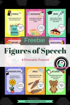 Figures of Speech - Printable Posters Teaching Grammar, Teaching Aids, English Phonics, Teaching English, English Fun, Learn English, Figure Of Speech, Social Studies Resources, Alliteration
