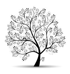 Art tree beautiful black silhouette vector 261421 - by Kudryashka on VectorStock®