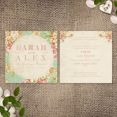 Wedding Invitation  Vintage Floral Printable File by HeartInvites, $31.29