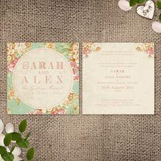 Wedding Invitation  Vintage Floral Printable File by HeartInvites