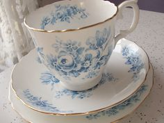 vintage blue and white tea cup and saucer plate set trio, Crown Staffordshire English tea set, blue rose bone china tea cup. $39.00, via Etsy.