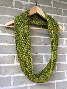 Hand Knit Green Merino Wool Soft and Chunky Infinity Scarf by OopsIKnittedAgain on Etsy