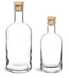 SKS Bottle & Packaging - Glass Bottles, Clear Glass Bar Top Bottles w/ Round Wood Bar Top Natural Corks