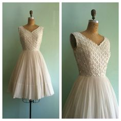 50s Wedding Dress / White Sequin Lace & by TroveVintageBoutique, $475.00