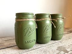 Green Mason Jars, Pint Mason Jars, Twine, Bows, Cabin, Rustic, Holiday Decor, Arches, Country Primitive