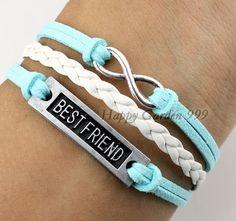 Mint Green Bracelet ,Silvery Best Friend Bracelet,Infinity Karma Bracelet,White Leather Bracelet,Best Choose Gift .