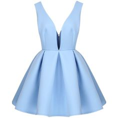 Sheinside Women's V Neck Backless Midriff Flare Offen Side Dress ($27) ❤ liked on Polyvore featuring dresses, vestidos, short dresses, robe, flare dress, v-neck dresses, v neck cocktail dress, blue mini dress and blue fit-and-flare dresses