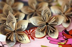 Kusudama from recycled textbooks