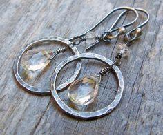 Silver hoops + briolette earrings