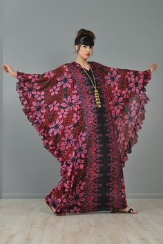 Sheer Ruffled 1970s Ethnic Floral Caftan   BUSTOWN MODERN #vegan #dress