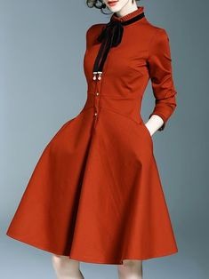Bow Ruffled Buttoned Long Sleeve Midi Dress