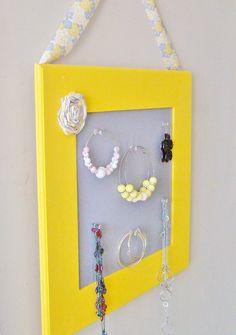 Yellow and Grey Jewelry Organizer Jewelry Holder by StrictlyCute, $50.00