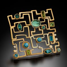 JUDITH KAUFMAN Contemporary Judith Kaufman. Description: 22 karat yellow gold 18 karat green gold with diamonds tourmaline and topaz.Dimensions: H:2.00 x W:2.00 x D:1.00 Inches