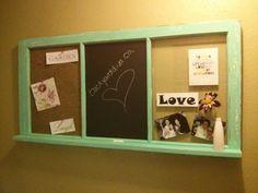 Cork board, chalk board and little shelf..