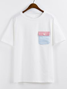 Shop Contrast Pocket White T-shirt online. SheIn offers Contrast Pocket White T-shirt & more to fit your fashionable needs.