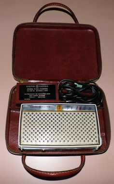 Vintage General Electric 7-Transistor Radio, Model P-787A (Blue & White), With Case And Model P-15A Charger, Circa 1959.