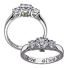 Couples Birthstone & CZ Promise Ring
