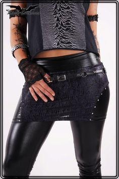 Poison Idea - Wetlook Mini Skirt with Studs Studded Punk Gothic Deathrock Horrorpunk Gothabilly Rockabilly Psychobilly Hot on Etsy, $42.14