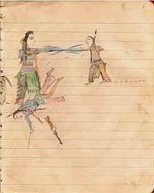 """The Cayuse-Nez Percé Sketchbook, """"is an important illustration of Native American art and history at a time when traditional native means of communication were discouraged by the policies of the government of the United States. This sketchbook, thirty-two drawings in a school composition book, is believed to be the last of these records, having been discovered in the early part of the 20th century, a time when this form of record-keeping had come to an end."""" - from the Special Collections…"""