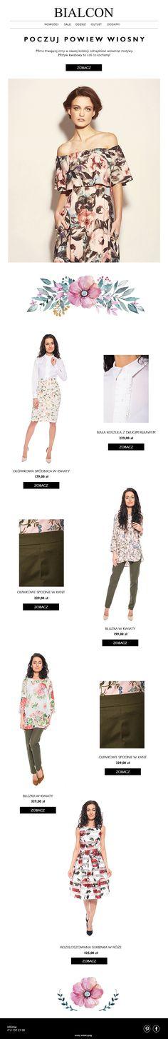 Newsletter dla sklepu internetowego z odzieżą damską bialcon.pl #wiosna #kwiaty #newsletter #bialcon