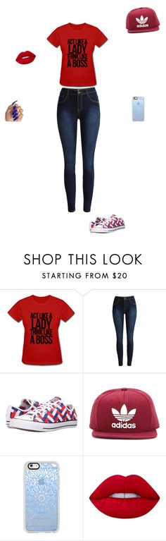 """""""angels outfit"""" by kazzie-0314 ❤ liked on Polyvore featuring Converse, adidas Originals, Casetify and Lime Crime"""