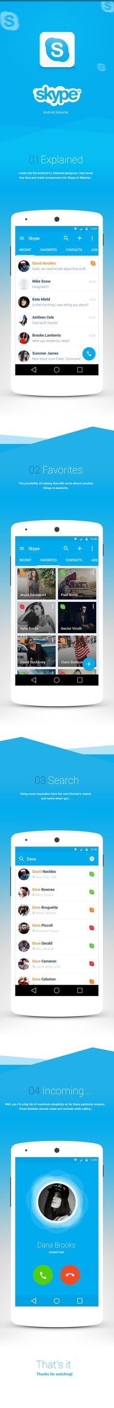 "Skype ""Material"" for Android on App Design Served Web Design, App Ui Design, User Interface Design, Design Case, Android Material Design, Android App Design, Android Ui, Google Material Design, Mobile Ui Design"