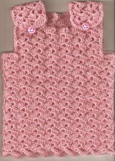 Crochet Girls, Crochet Baby, Crochet Shell Stitch, Crochet Fashion, Sewing For Kids, Baby Knitting, Baby Dress, Free Pattern, Crochet Patterns