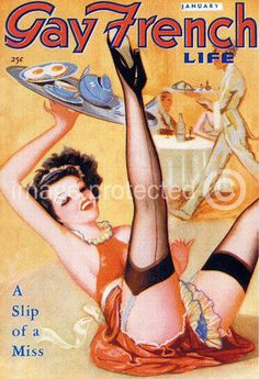 Slip Of A Miss Gay French Life Vintage Pinup Art Poster 18x24 #CanvasPrint
