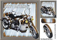 Gold motorbike in gold metallic frame 8x8 on Craftsuprint - Add To Basket!