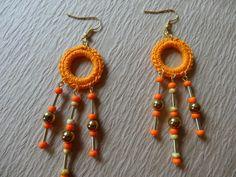 Crocheted+Orange+Dangle+Earrings+with+Gold+by+LotsofKnotsDesigns